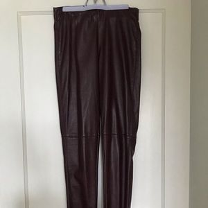 Maroon leather leggings pants